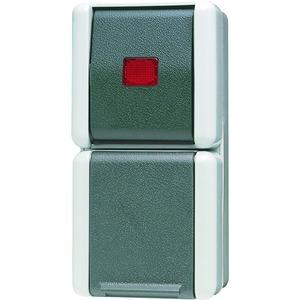 876 KOW, SCHUKO-Steckdose, 16A250V~, Wipp-Kontrollschalter,10 AX250V~, Universal Aus-Wechsel,Klappdeckel