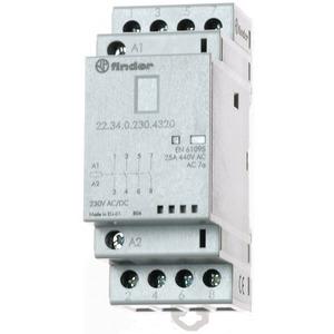 22.34.0.230.4320, Schütz für Reiheneinbau, 4 Schließer 25 A, Spule 230 V AC/DC, LED-Anzeige