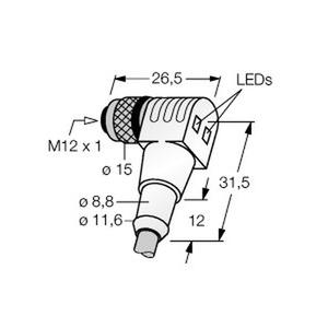 WWAK4P2-5/S90, M12 x 1 Rundsteckverbinder, Kupplung M12 x 1 mit LED