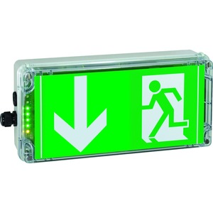 1 2191 030 003, Ex-Notlicht-Rettungszeichenleuchte für Zone 1/21 EXIT N, Pfeil 6h (gemäß DIN 4844), 1 x M20, 1 x M20 Schraubverschluss