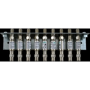 Erdungswinkel Antennentechnik, Überspannungsschutz, 9-fach, F-Doppelbuchse,9x-09