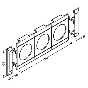 Blende 3-fach Steckdose PVC OT 100 cweiß
