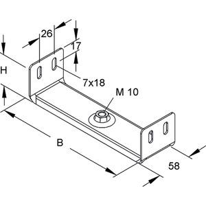 RTU 60.100, Aufhängebügel zum Einschieben, 54x97 mm, Stahl, bandverzinkt DIN EN 10346