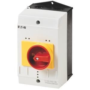 CI-K2-PKZ0-GR, Isolierstoffgehäuse CI-K2, H x B x T = 160 x 100 x 130 mm, für PKZ0, + Drehgriff, rot/gelb
