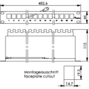 19 Modulträger 1 HE inkl. 24xAMJ-Modul K Cat.6A(IEC) T568A