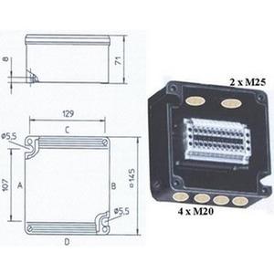 8118/232-099, EEXI-Klemmkasten 145x145x71mm, bestückt 8x ZDU 2,5BL + 4x WPE 2,5