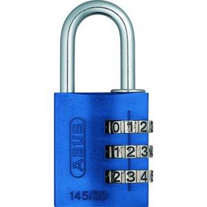 Alu.Zahlen-Kombinationsschloss  145/30 blau mit EAN