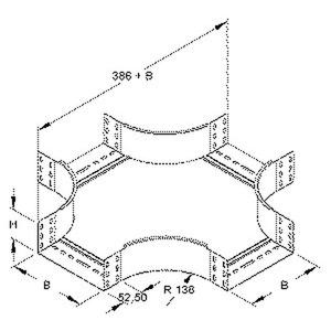 RKS 85.400, Kreuzung für KR, 85x402 mm, mit ungelochten Seitenholmen, Stahl, bandverzinkt DIN EN 10346, inkl. Zubehör