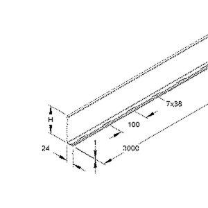 RW 110, Trennsteg, 98x3000 mm, t=0,9 mm, Stahl, bandverzinkt DIN EN 10346, inkl. Zubehör