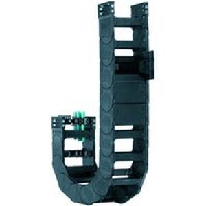 Beidseitig zu öffnende, leichte und kostengünstige E-Kette® mit großen Zubehörbaukasten und guten Belastungseigenschaften