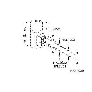EDKD35.3, Übergangs-T-Stück, mit vorgeprägter Perforation, Höhe 68 mm, Kunststoff ASA, RAL 9010, reinweiß