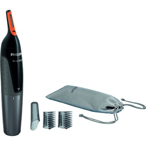 Nasen- und Ohrenhaartrimmer Series 3000, 2KammaufsätzefürAugenbrauen, Aufbewahrungstasche, Soft-Touch-Griff, AA Batterie