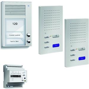 home:pack Audio Aufputz für 2 Wohneinheiten, mit Außenstation PAK 2 Klingeltasten + 2 x Freisprecher ISW3130 + Steuergerät BVS20