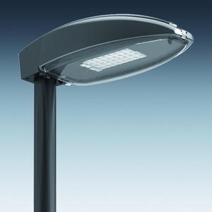 Mastaufsatzleuchte ASL 2010 FF LED, DB 703, 1armig, klar, FF LED 15W/1.950lm, 4.000K, asymmetrischbreitstrahlend, SK I, Durchm. 76mm