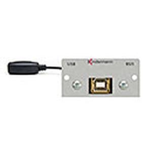 Anschlussblende mit Kabelpeitsche, USB 2.0 Active Hub, B-Buchse / A-Buchse mit integriertem Repeater für max. 5 m Kabellänge, Halbblende, Aluminium el