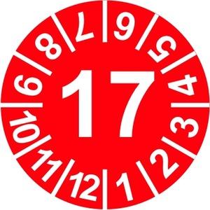 INP-C-17, Prüfplakette 17, rot (15mm) VPE: 10 Karten, 1 Karte = 10 Symbole