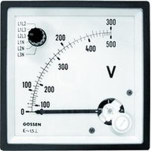 Spannungsmesser mit Umschalter Typ EQB 72/U6 Bereich 500V, Skala 300V/500V