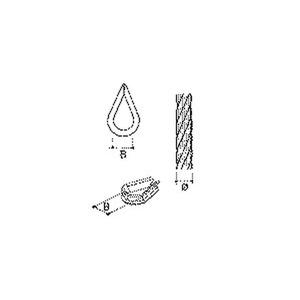 WT-23, E-KLIPS, Kausche für Stahlseil, Seil-Ø 2-3 mm, Stahl, tauchfeuerverzinkt