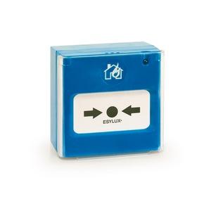 PROTECTOR MCP blau, Druckknopfmelder blau mit Piktogramm, verdrahtet, optional funk-vernetzt in Kombination mit dem PROTECTOR RF IO Modul