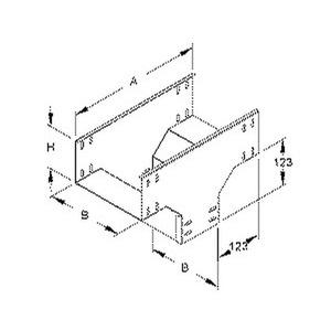 RTQ 110.100, Abgangstrichter für KR, quer, 110x100 mm, Stahl, bandverzinkt DIN EN 10346, inkl. Zubehör
