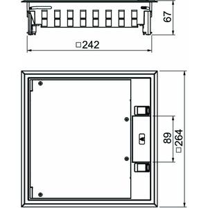 GES9-3S U 7011, Geräteeinsatz für Universalmontage 264x264x67, PC/ABS, eisengrau, RAL 7011