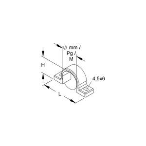 795/28, Befestigungsschelle, Pg 21, NW 23, für Kabel-Ø 28-30 mm, Kunststoff PE, RAL 7035, lichtgrau