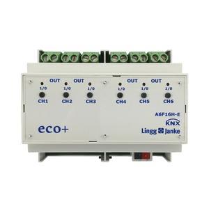 KNX eco+ Schaltaktor 6-fach, Handbedienung, 6 TE; Schaltleistung 16A 250 VAC, C-Last 200µF
