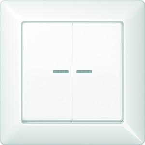 AS 590-5 KO5 WW, Abdeckung, Linsen, Lichtleiter, volle Platte, für Serien-Wippschalter, Serien-Wipp-Kontrollschalter, Doppel-Taster und Taster BA 2fach