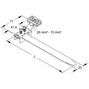 38/4, Erdungs-Bandschelle, längs, Bandlänge 412 mm, für Rohr-Ø 25-114 mm, Messing, vernickelt
