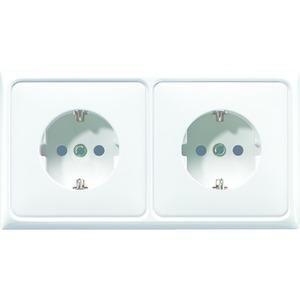 CD 522 BF WW, Kabel-Kanal-SCHUKO-Steckdose, 2fach, 16A250V~, angeformter Rahmen, bruchsicher, 80x151mm