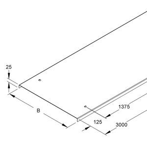 WDV 200, Deckel f. Weitspannkabelr./-leiter, m. Stoßl., 204x3000 mm, m. Drehr., Stahl, bandverzinkt DIN EN 10346