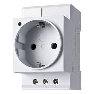 07.99.00, Steckdose für Reiheneinbau, Farbe grau, für Wechselstrom 16 A 250 V AC1, mit LED Anzeige und Schutzkontakt