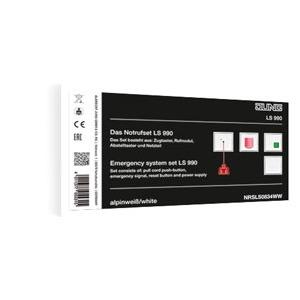 NRS LS 0834 WW, Notrufset (Zugtaster, Rufmodul, Abstelltaster , Netzteil), Schraubbefestigung, 4 Rahmen 1fach Art.-Nr.: LS 981 ..