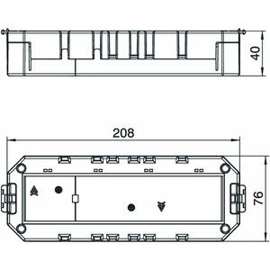 MT4 45 2-2, Modulträger 45 geschlossen für 2+2 M45-Geräte 208x76x40, PA, graphitschwarz, RAL 9011