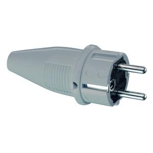 SCHUKO PVC-Stecker, grau, 2 Erdungssysteme, IP44