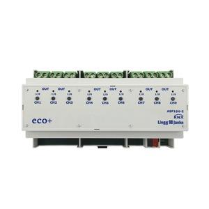 KNX eco+ Schaltaktor 9-fach, Handbedienung, 9 TE; Schaltleistung 16A 250 VAC, C-Last 200µF