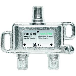 Verteiler 2-fach, 5-1006 MHz, F-Stecker, brummentstörte Ein- und Ausgänge