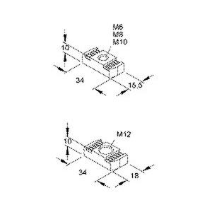 GMZ M6 F, Gleitmutter, Gewinde M6, für Schlitzweiten 18 mm, 22 mm, 26 mm, Stahl, feuerverzinkt DIN EN ISO 10684