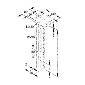 HDUF 50/300, Hängestiel, Doppel U-Profil, 50x22x300 mm, Stahl, feuerverzinkt DIN EN ISO 1461