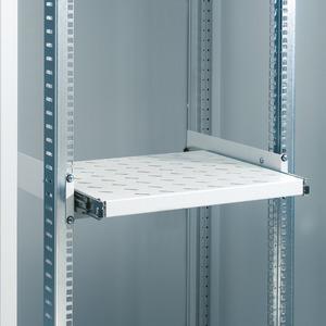 482,6 mm (19) 2HE Fachboden ziehbar, 400 mm tief, statistische Belastbarkeit 40 kg, Schwarz RAL 9005 (für Einbau mit einer 482,6 mm (19)-Ebene), mon