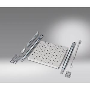 482,6 mm (19)-Fachboden, ziehbar,  422 x 400 mm, Lichtgrau RAL 7035 (für Einbau mit 2 482,6 mm (19)-Ebenen), montiert