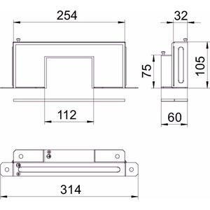 BSKM-RE 1025RW, Reduzierstück für Wand- und Deckenmontage 100x250, St, L, reinweiß, RAL 9010