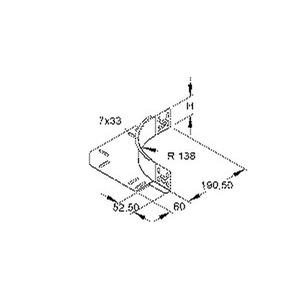 REK 60 E3, Eckanbaustück für KR, Höhe 60 mm, mit ungelochtem Seitenholm, Edelstahl, Werkstoff-Nr.: 1.4301, 1.4303, inkl. Zubehör