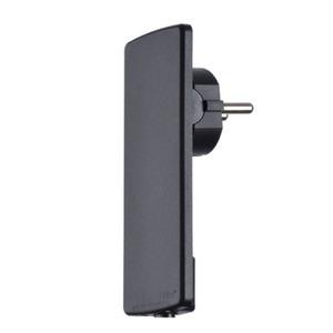 EVOLINE PLUG SW, Extraflacher Schutzkontaktstecker mit beweglichem Steckergesicht schwarz (VPE 10 St.)