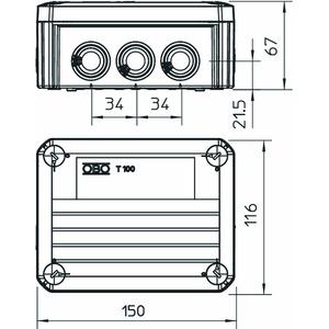 T 100 ED 6-5, Kabelabzweigkasten für Funktionserhalt 150x116x67, PP, pastellorange, RAL 2003
