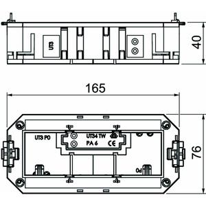 UT3 45 3, Universalträger für 3 Modul45-Geräte 165x76x40, PA, graphitschwarz, RAL 9011