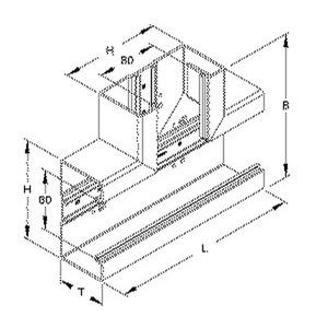 BT1308.6, T-Stück 90°, mit Bodenlochung, 133x193x66 mm, Länge 250 mm, Kunststoff PVC-hart, RAL 9001, cremeweiß