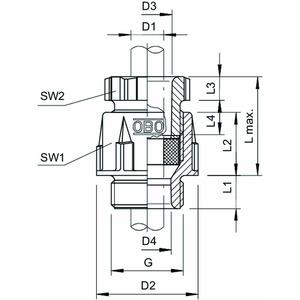 106 PG48, Kabelverschraubung PG48, PS, lichtgrau, RAL 7035