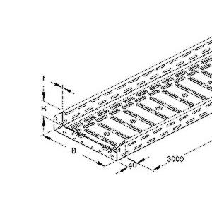 RLV 60.300, Kabelrinne leicht, gelocht, mit angeprägtem Verbinder, 60x300x3000 mm, Stahl, bandverzinkt DIN EN 10346, inkl. Zubehör