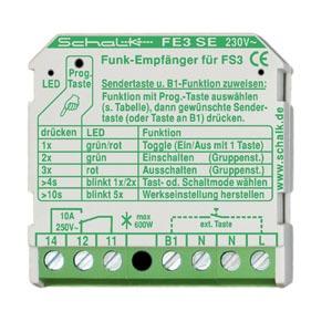 FE3 SE (230V AC), Funk-Empfängerschalter 1-Kanal 230V AC (UP), VO, 18.5mm (H)